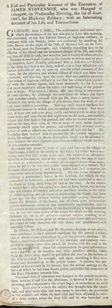 Broadside entitled 'A full and particular account'
