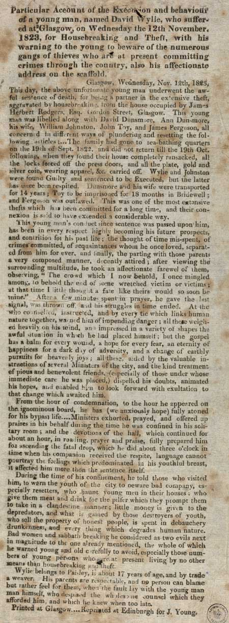 Broadside entitled 'Particular account of the execution'