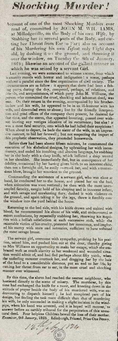 Broadside entitled 'Shocking Murder'