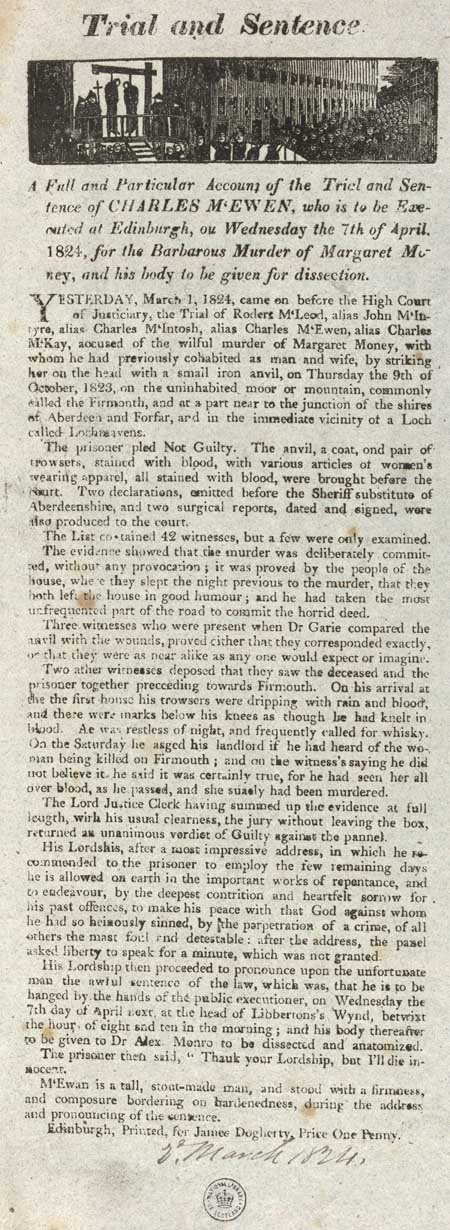 Broadside entitled 'Trial and Sentence'