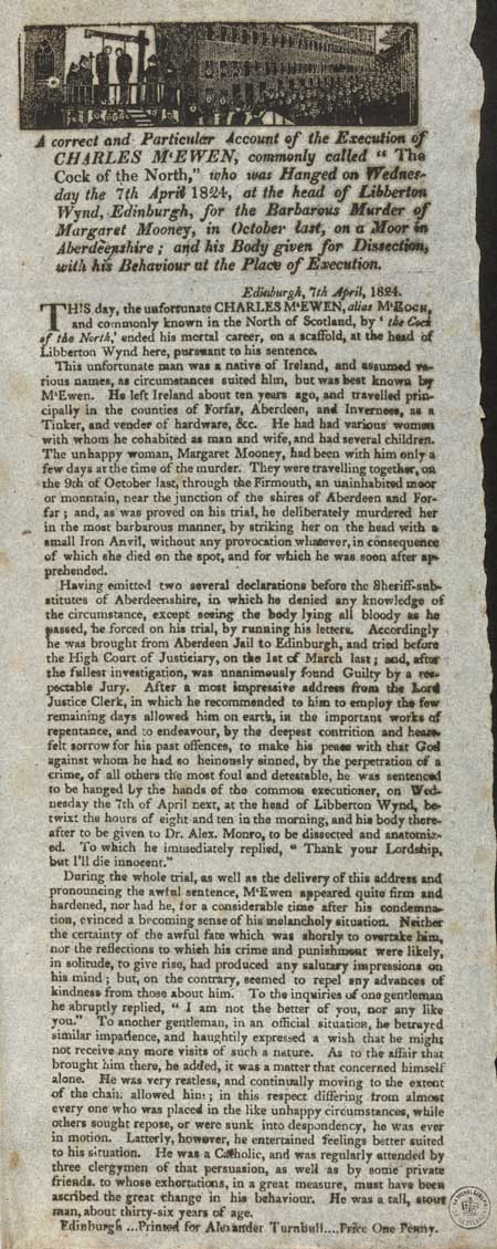Broadside entitled 'Execution of Charles McEwen'