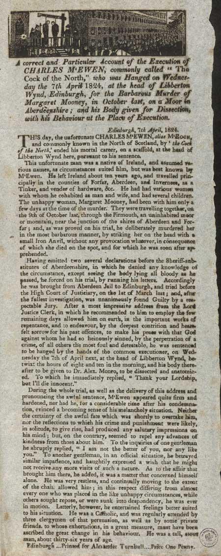 Broadside entitled 'Execution of Charles McEwen'