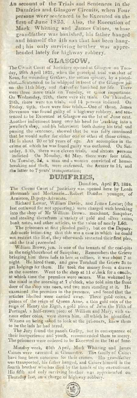 Broadsides concerning the proceedings of the Circuit Court of Justiciary, Dumfries and Glasgow