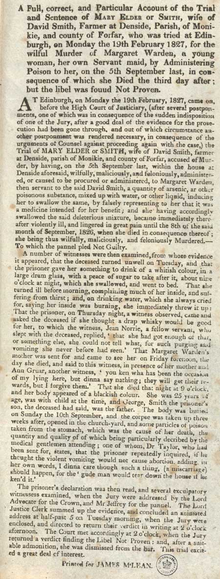Broadside concerning the trial and sentence of Mary Elder or Smith