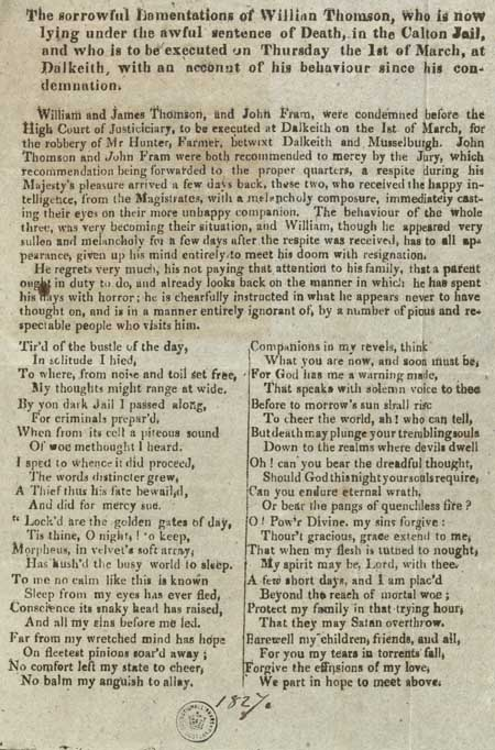 Broadside relating the 'sorrowful lamentations of William Thomson'