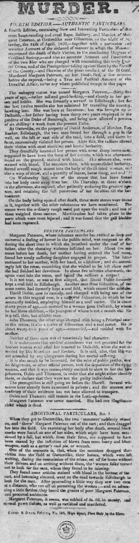 Broadside entitled 'Murder. Fourth Edition. - Authentic Particulars'