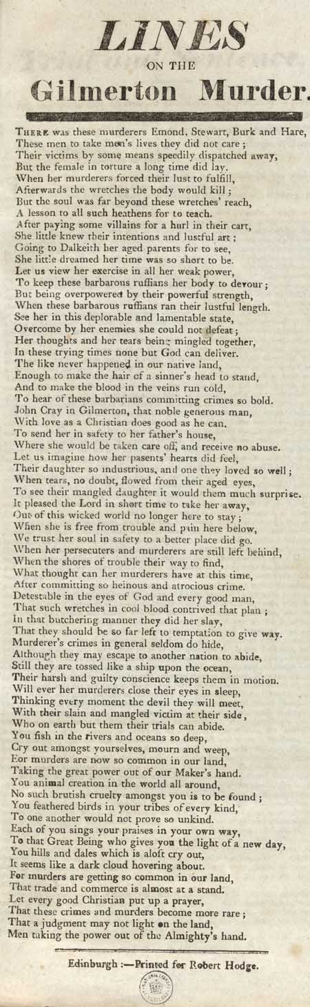 Broadside entitled 'Lines On The Gilmerton Murder'