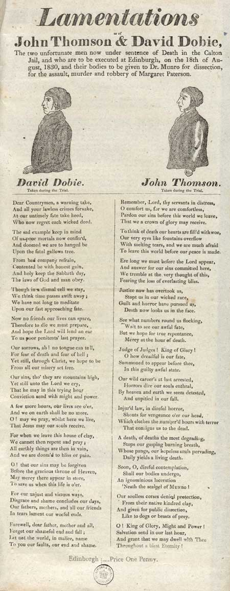 Broadside entitled 'Lamentations As of John Thomson & David Dobie'
