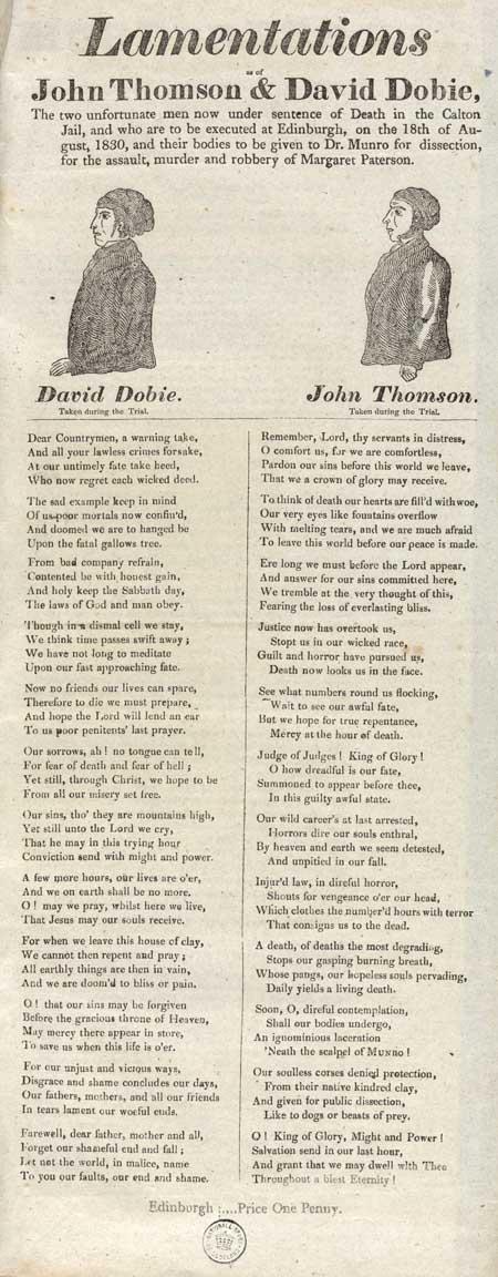 Broadside entitled 'Lamentations As of John Thomson & David Dobie'