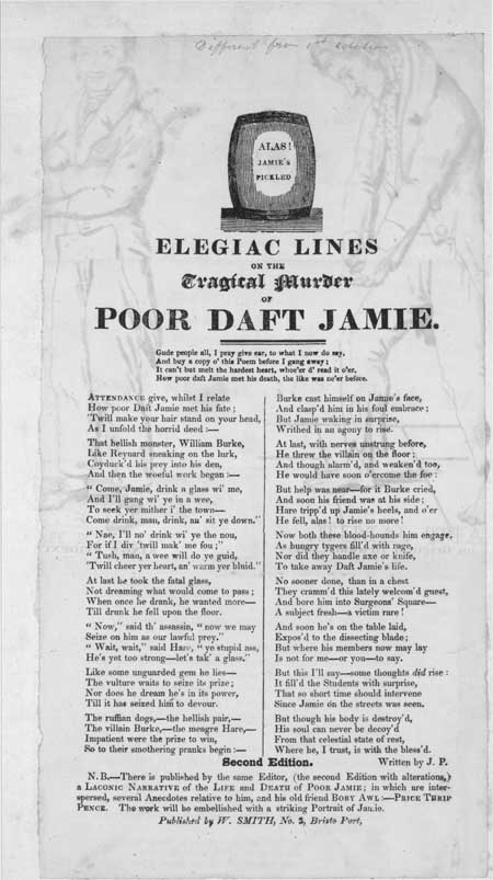 Broadside entitled 'Elegiac Lines On the Tragical Murder of Poor Daft Jamie'