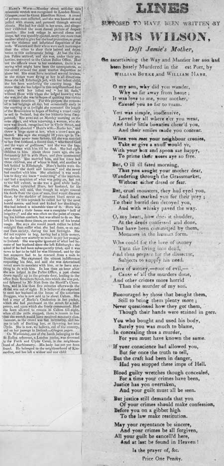 Broadside ballad entitled 'Lines Supposed to have Been Written by Mrs Wilson, Daft Jamie's Mother'