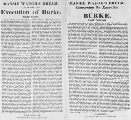 Broadside entitled 'Mansie Waugh's Dream Concerning the Execution of Burke, Parts First and Second'