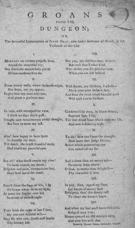 Broadside entitled 'Groans from the Dungeon'