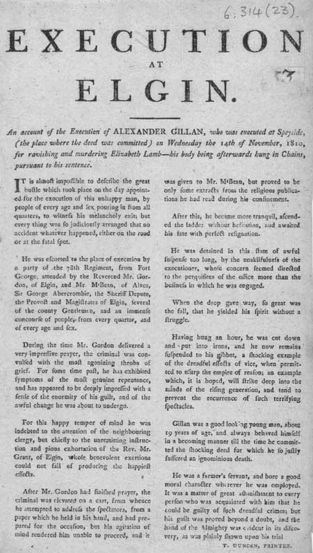 Broadside entitled 'Execution at Elgin'