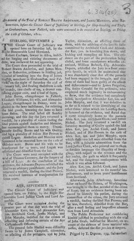 Broadside regarding the execution of Robert Brown Anderson and James Menzies or Robertson