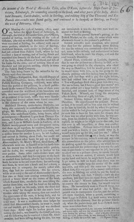 Broadside regarding the execution of Alexander Cain or O'Kane