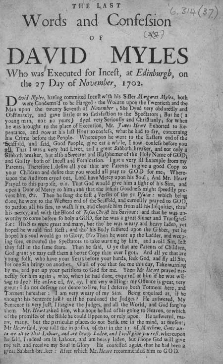 Broadside regarding the execution of David Myles