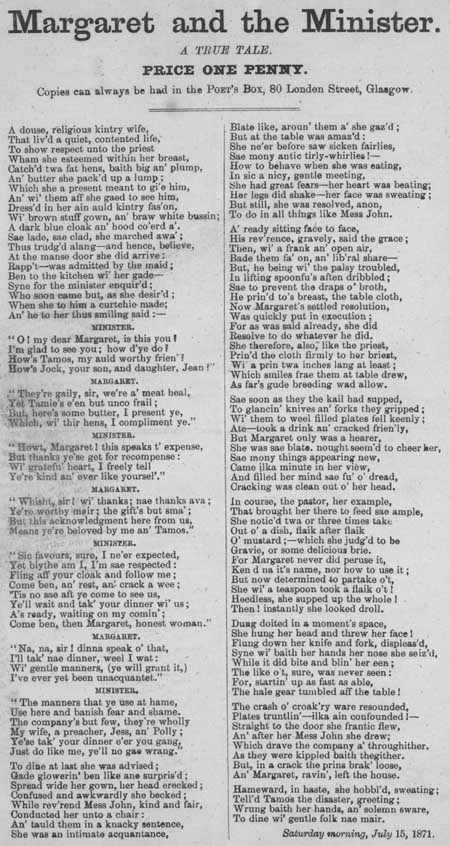 Broadside ballad entitled 'Margaret and the Minister, A True Tale'