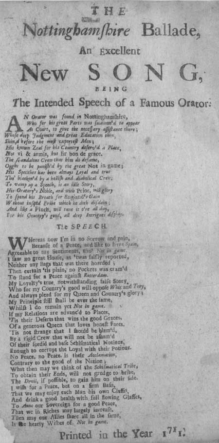 Broadside ballad entitled 'The Nottinghamshire Ballade'