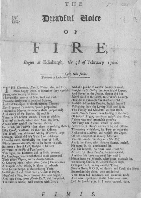 Broadside ballad entitled 'The Dreadful Voice of Fire'