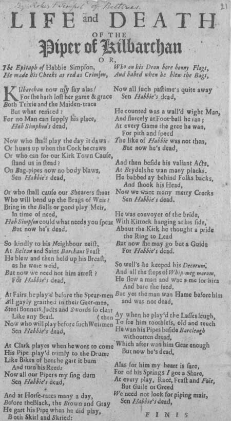 Broadside ballad entitled 'Life and Death of the Piper of Kilbarchan [Habbie Simpson]'