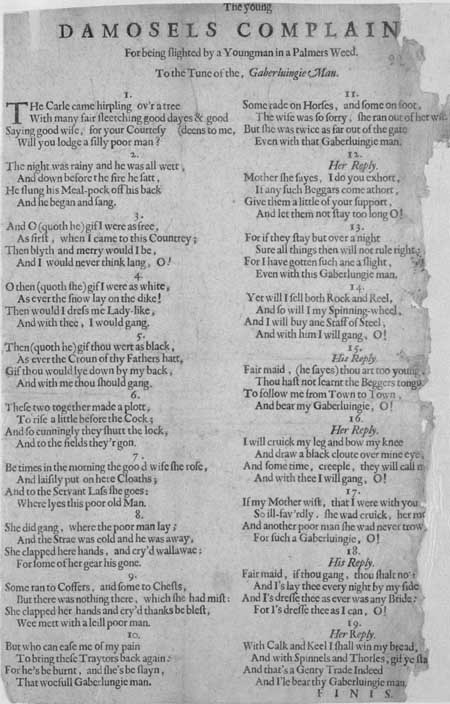 Broadside ballad entitled 'The young damosels complain[t]'