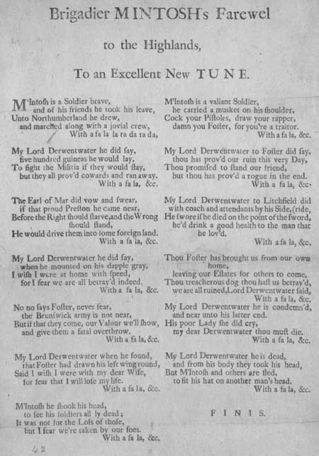Broadside ballad entitled 'Brigadier Mintosh's Farewell to the Highlands'