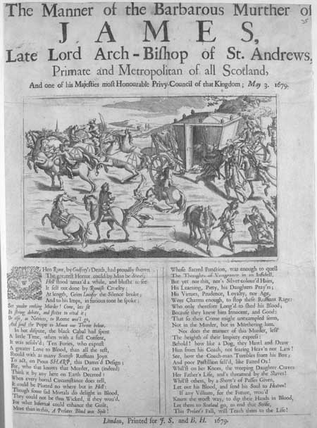 Broadside entitled 'The Manner of the Barbarous Murther of James'