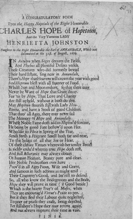 Broadside entitled 'A Congratulatory Poem'
