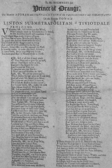 Broadside entitled 'To His Highness the Prince of Orange'