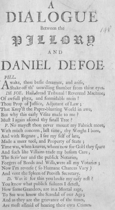 Broadside entitled 'A Dialogue between the Pillory and Daniel Defoe'
