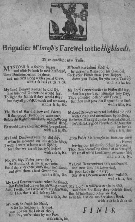 Broadside entitled 'Brigadier M'Intosh farewel to the Highlands'