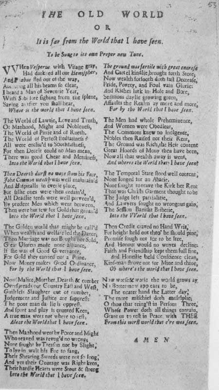 Broadside ballad entitled 'The Old World; or, It is Far from the World that I Have Seen'