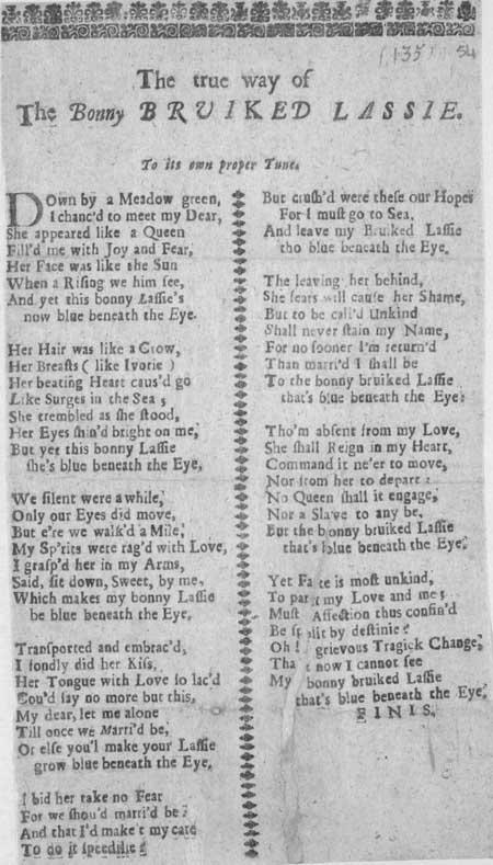 Broadside ballad entitled 'The true way of the bonny bruiked lassie'
