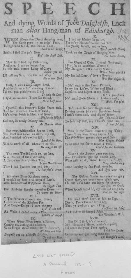 Broadside entitled 'Speech and Dying Words of John Dalgleish, Lock man alias Hang-man of Edinburgh'