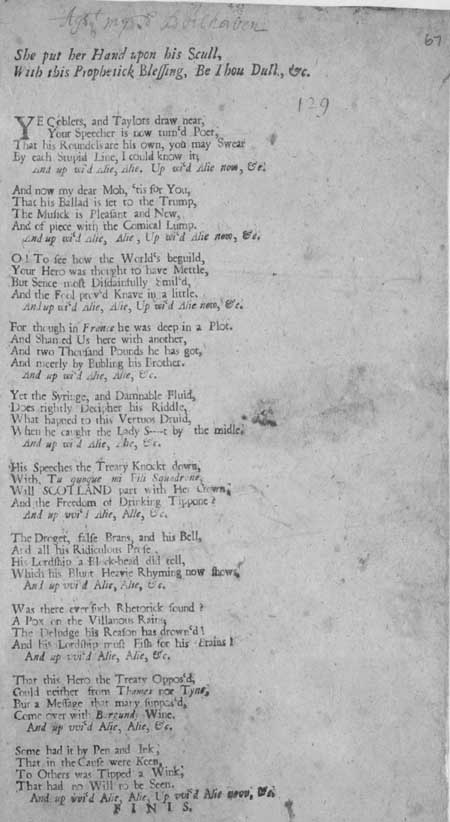 Broadside ballad entitled 'She Put her Hand Upon his Skull, With this Prophetick Blessing, Be Thou Dull'