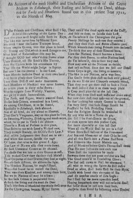 Broadside concerning body-snatching in Edinburgh in 1711