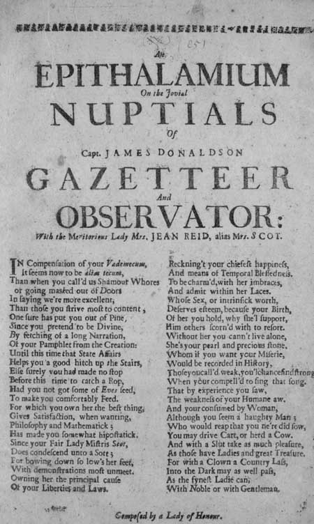 Broadside entitled 'An Epithalamium on the Jovial Nuptials of Capt. James Donaldson Gazetteer and Observator'