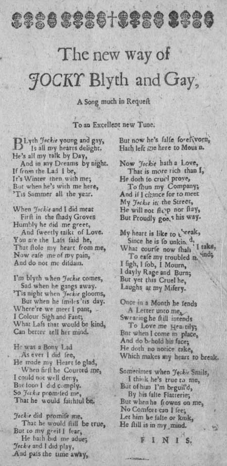Broadside ballad entitled 'The New Way of Jocky Blyth and Gay'
