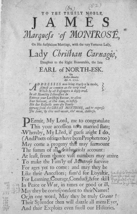 Broadside celebrating the marriage of James Marquess of Montrose to Lady Christian Carnegie, 1702