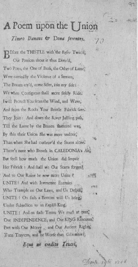 Broadside entitled 'A Poem Upon the Union'