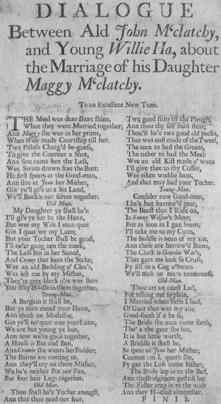 Broadside ballad entitled 'A Dialogue between ald John M'Clatchy and Young Willie Ha'