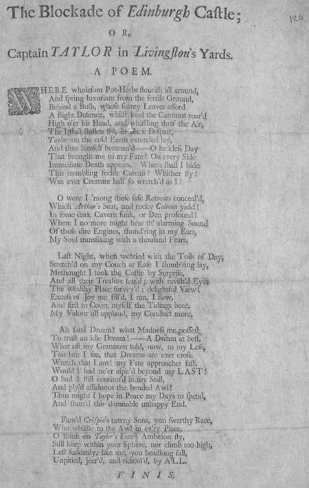 Broadside ballad entitled 'The Blockade of Edinburgh Castle; or, Captain Taylor in Livingston's Yards'