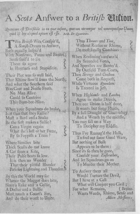 Broadside poem entitled 'A Scots Answer to a British Vision'