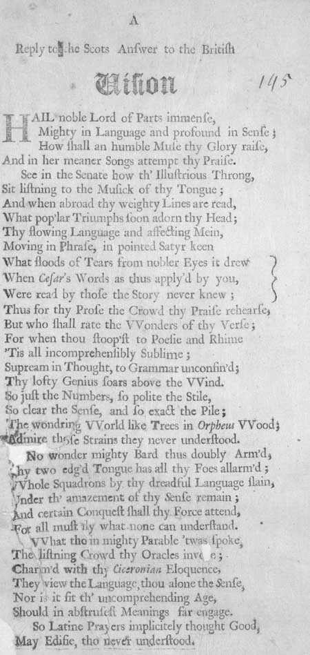 Broadside entitled 'A Reply to the Scots Answer to the British Vision'