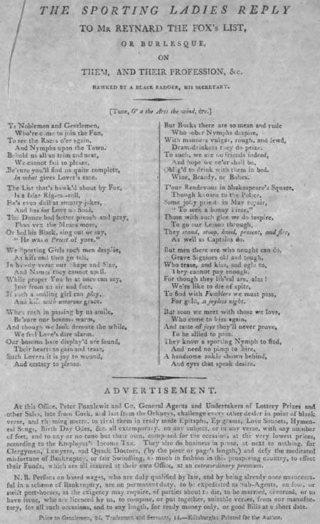 Broadside ballad entitled 'The Sporting Ladies Reply to Mr Reynard the Fox 's List, or Burlesque, on Them, and Their Profession, &c.'
