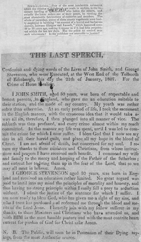 Broadside entitled 'The Last Speech'