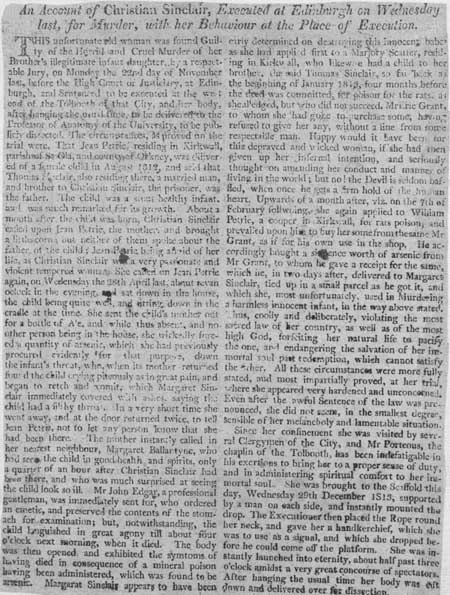 Broadside concerning the execution of Christian Sinclair for commiting murder