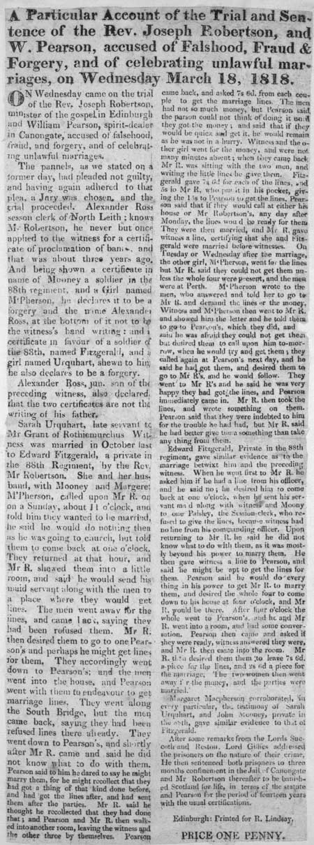 Broadside concerning the trial and sentence of Reverend Joseph Robertson and William Pearson