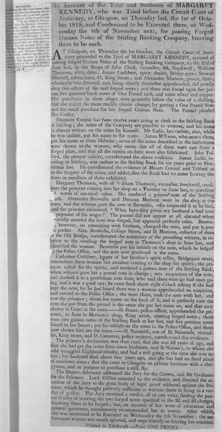 Broadside concerning the trial and sentence of Margaret Kennedy for passing on forged banknotes